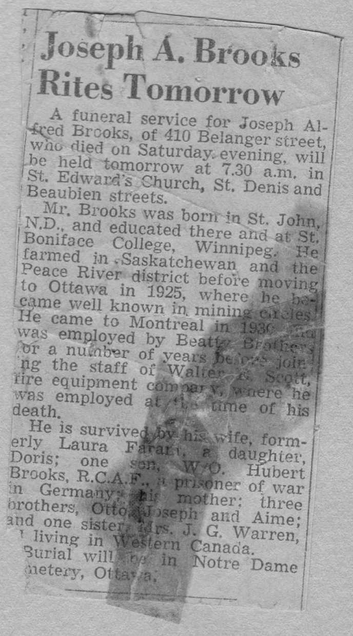 Image of Alfred Brooks Obituary in Ottawa Citizen