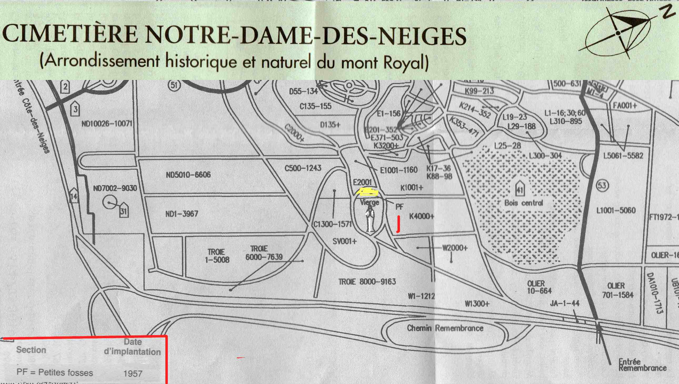 Partial Map of Notre-Dame-des-Neiges Cemetery Showing Area PF Reserved For Small Children