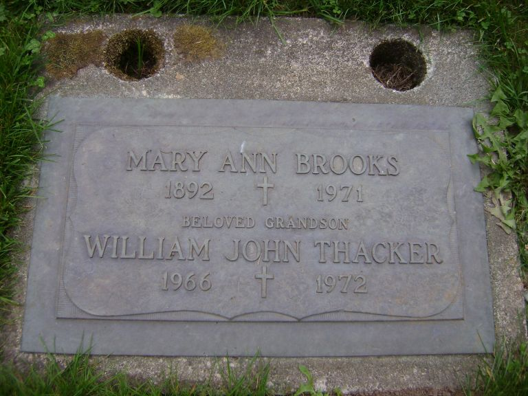 Photo: Mary Ann Brooks Headstone in Gardens of Gethsemani