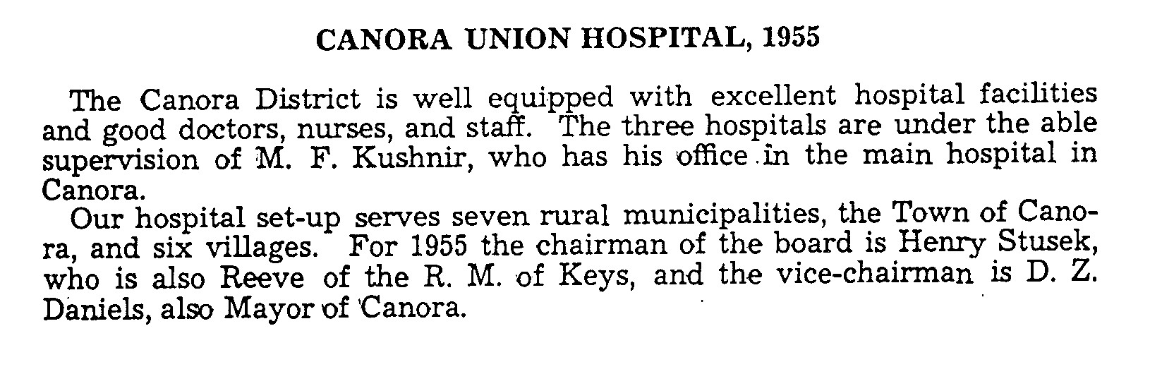 Historical Background on Canora Union Hospital  1