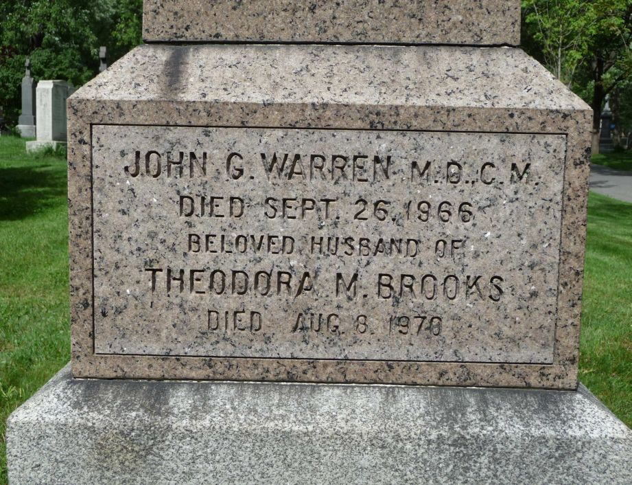 Dora (Brooks) Warren and Dr. John Warren Headstone