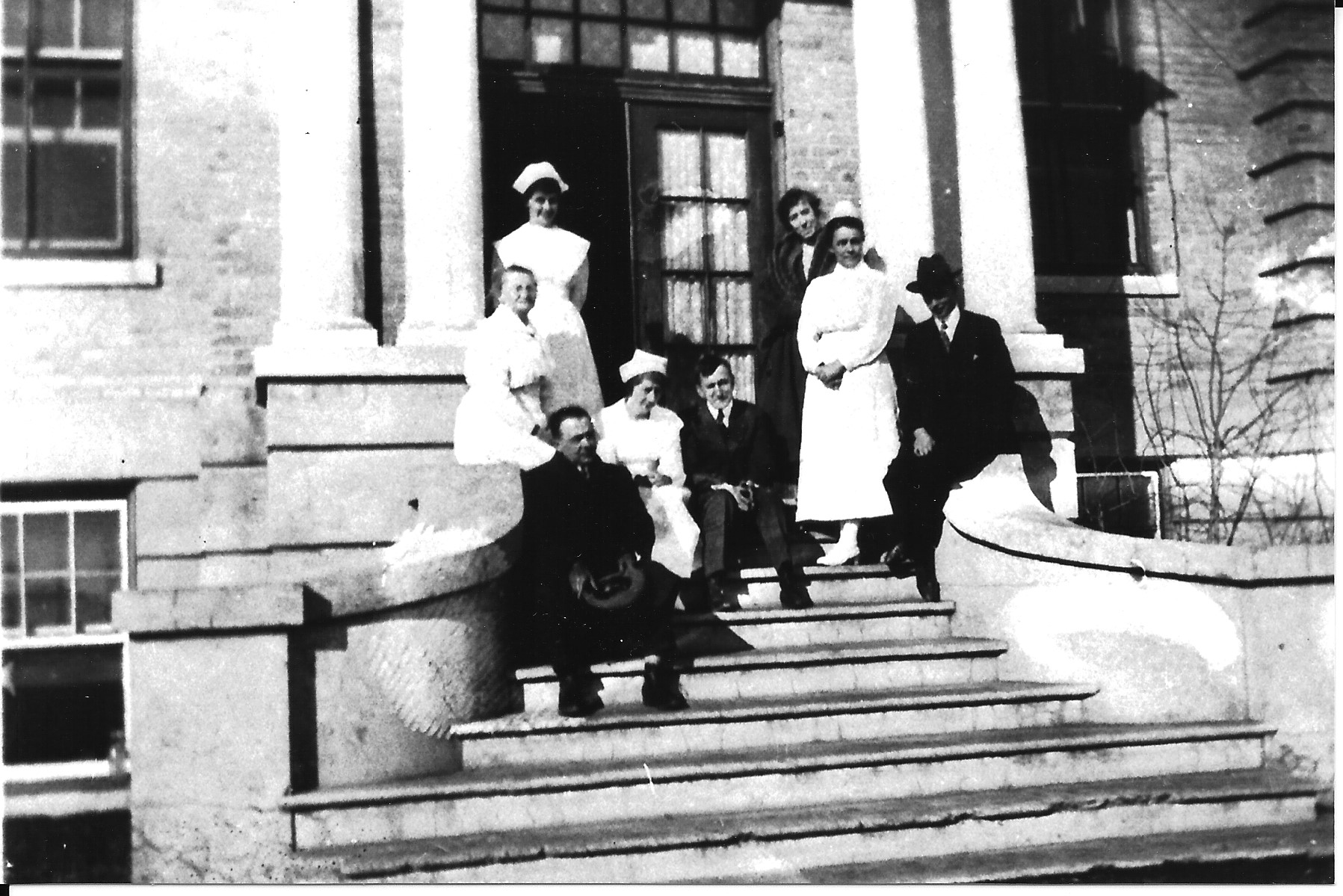 Historical PHOTO Staff on Steps of Hugh Waddel Memorial Hospital in Canora Saskatchewan