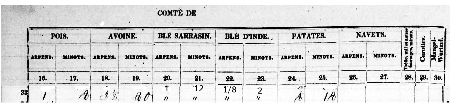Data From 1851 Census re Louis Rousseau Farm 2