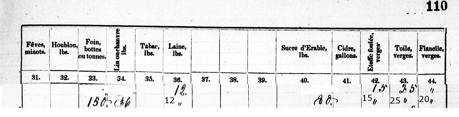 Data From 1851 Census re Louis Rousseau Farm 3