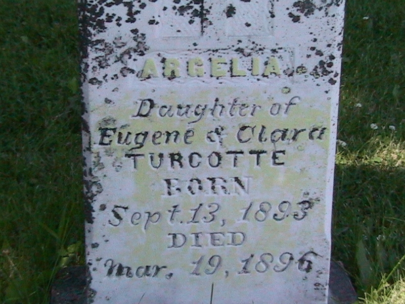 Photo:Tombstone of Argelia Turcotte at Holy Cross Cemetery St John ND
