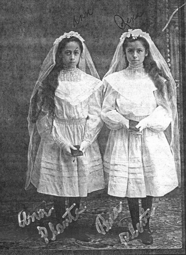Photo: Anna and Rena Plante, First Communion in N.D. circa late 1890s.