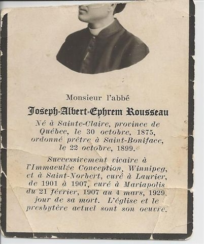 Photo: Partial Photo and Information on Father Joseph Albert Ephrem Rousseau