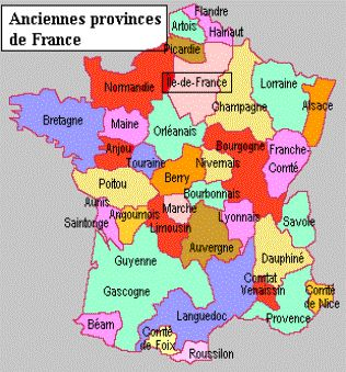 Map showing old French Provinces