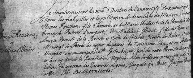 Image of Church Register Entry : Official Copy of Thomas Rousseau MARRIAGE to MADELEINE OLLIVIER