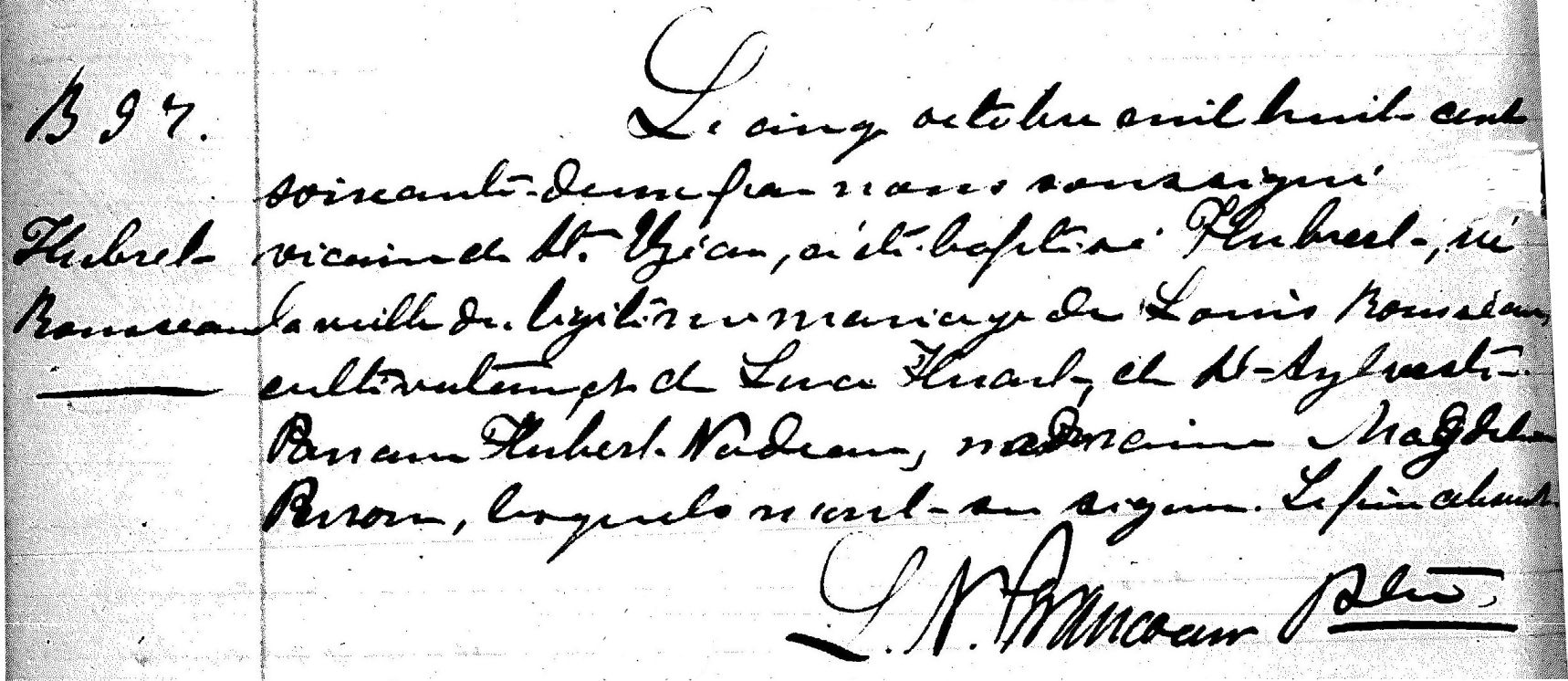Records for Paroisse St. Elezar showing Baptism Entry for Hubert Rousseau