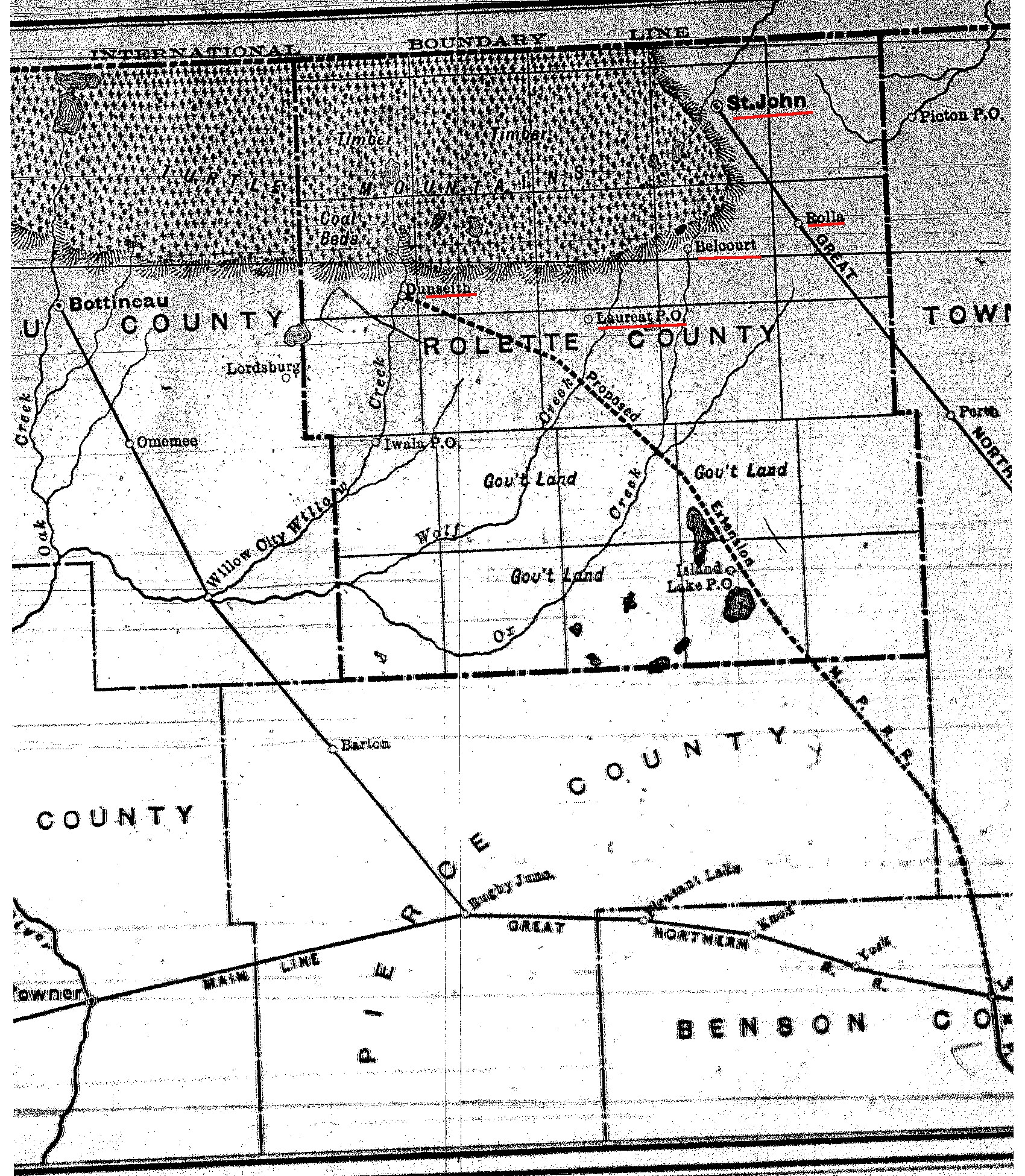 Rolette County Map Circa 1890s