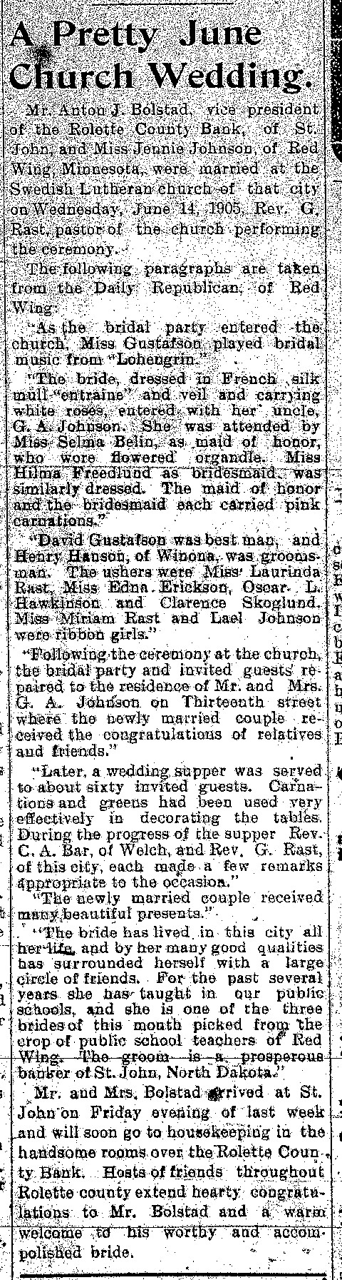 Newspaper Announcement of Marriage of Anton Bolstad to Jennie Johnson