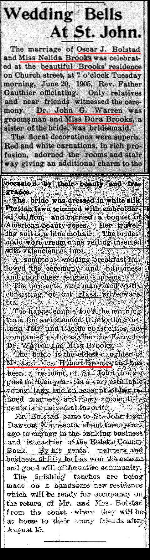 Newspaper Announcement of Marriage of Nellie Brooks to Oscar Bolstad
