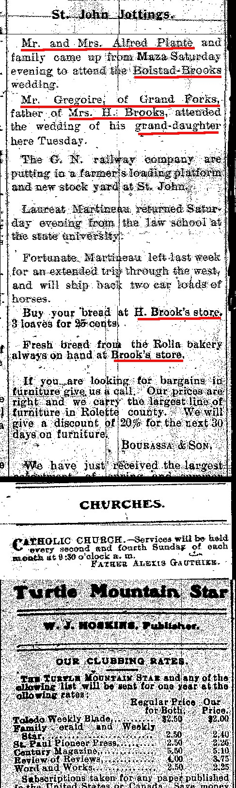 Newspaper St John Jottings re attendees to Marriage of Nellie Brooks to Oscar Bolstad