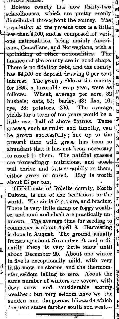 1898 Article Free Homesteads in Rolette County 2