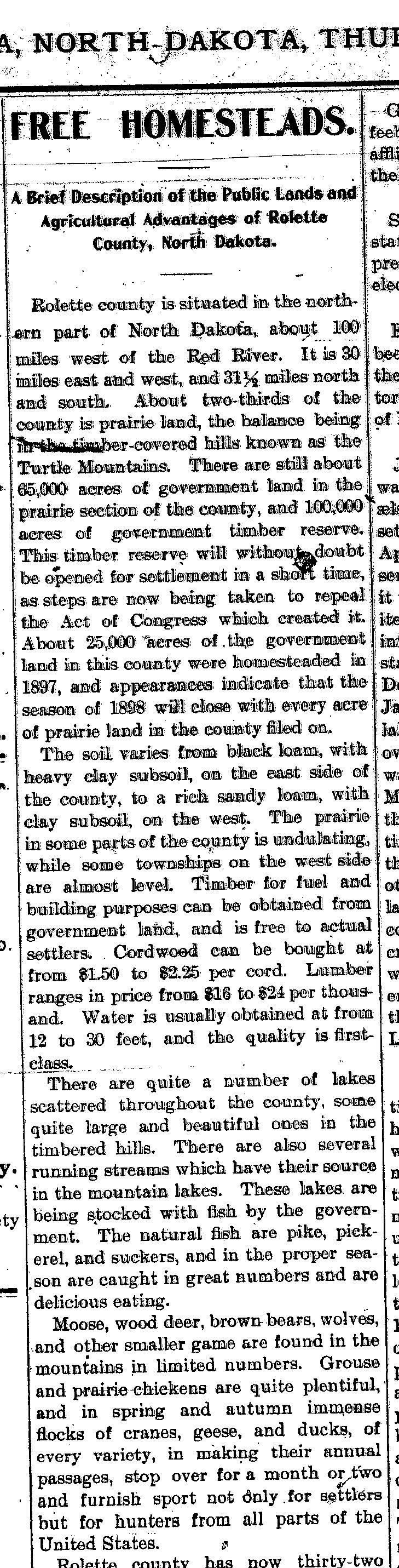 1898 Article Free Homesteads in Rolette County 1