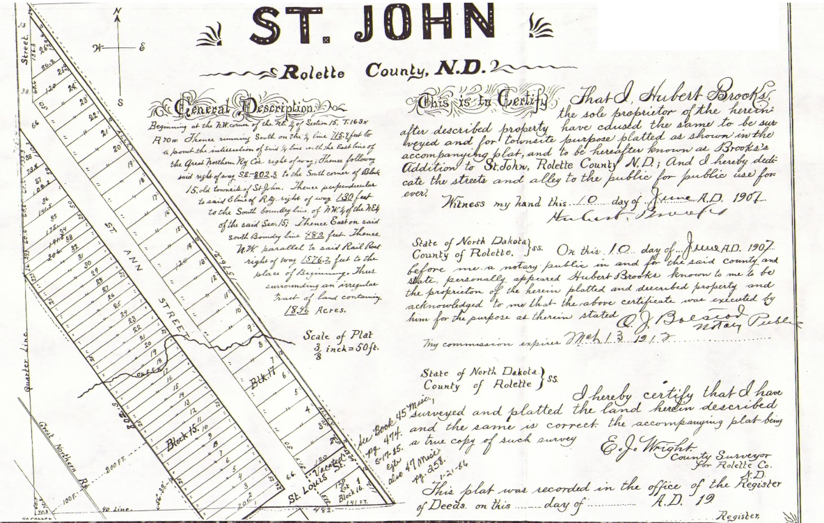 St John N.D. BROOKS ADDITON PLAT Document