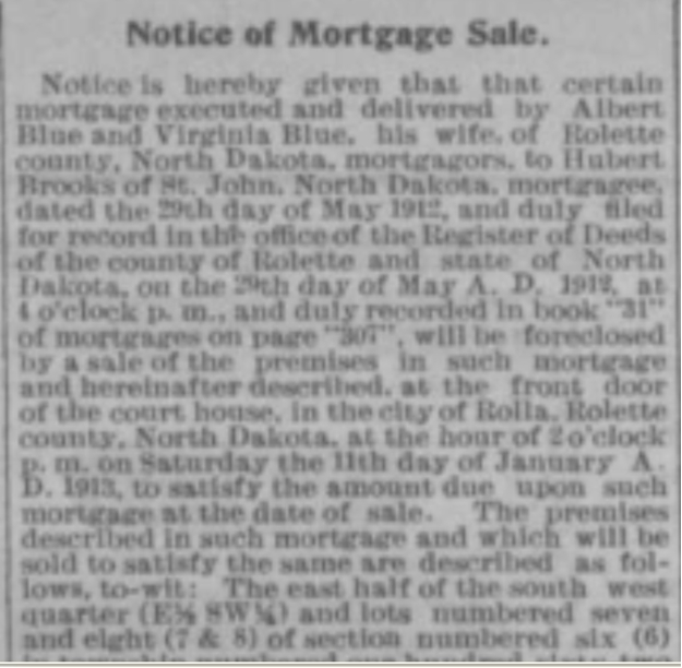 Notice Prt 1 of Mortgage Sale in Turtle Mountain Star newspaper Nov 28 1912