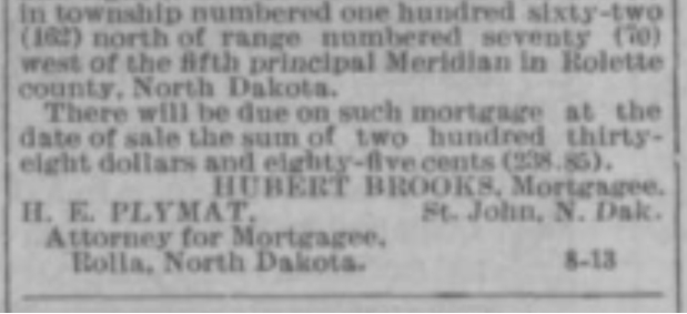 Notice Prt 2 of Mortgage Sale in Turtle Mountain Star newspaper Nov 28 1912