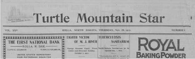Turtle Mountain Star newspaper Header for Nov 28 1912