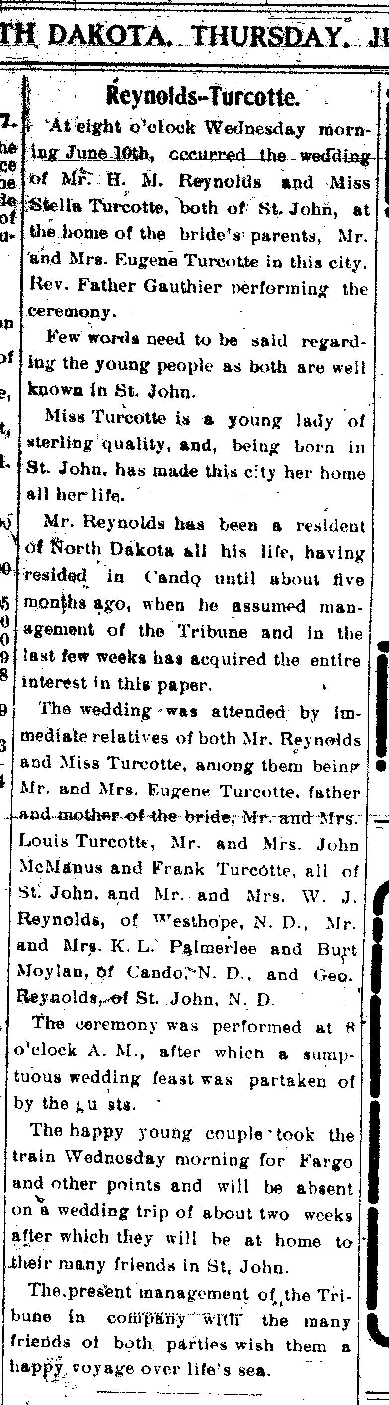St john Herald Marriage of Stella Turcotte to Hugh Reynolds