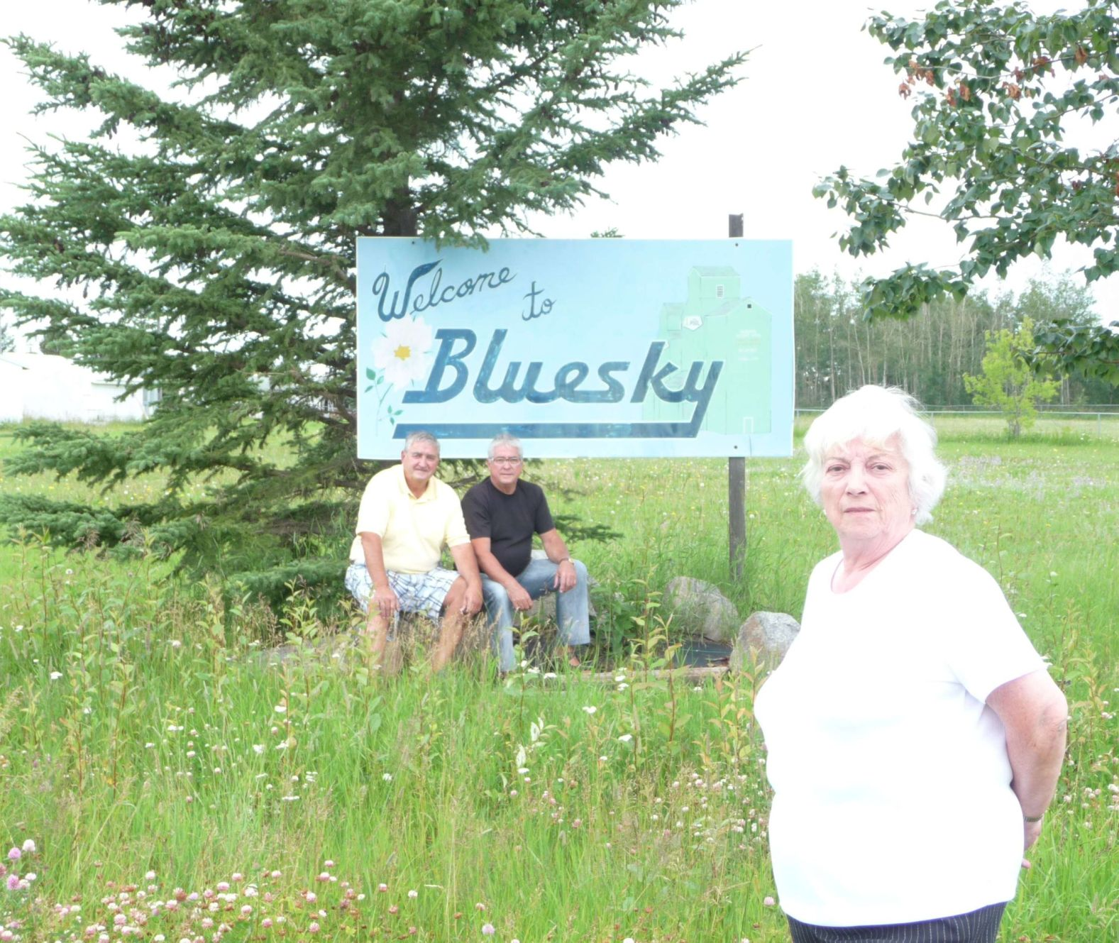 Phil, Hubert, Jeannine at the Entrance to New Bluesky